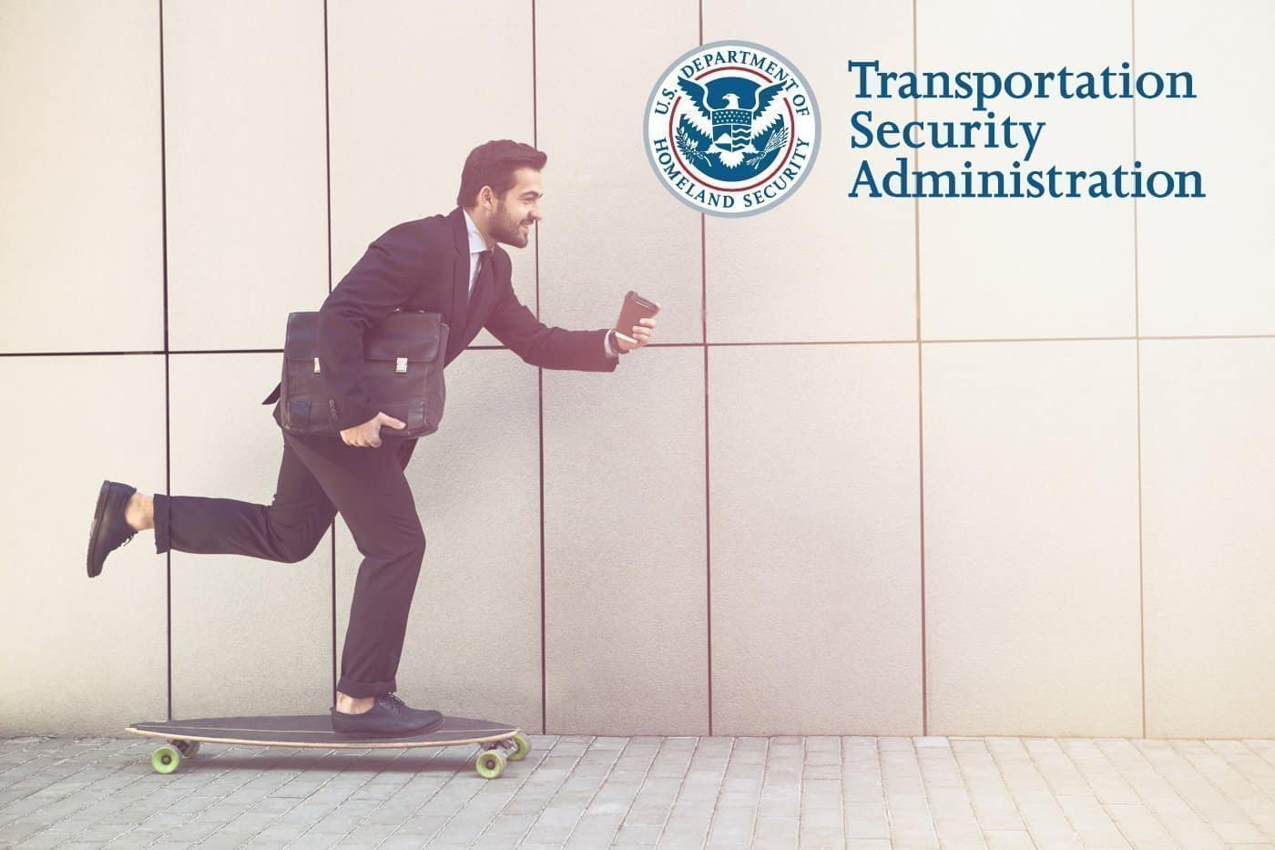 Business man riding a skate board holding a brief case and coffee. TSA logo in right corner.
