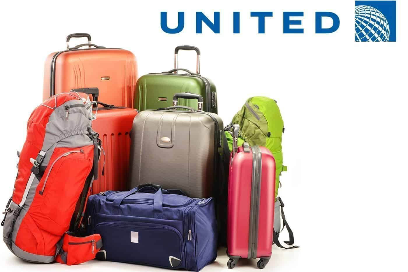 Colorful luggage. United logo at top of image.