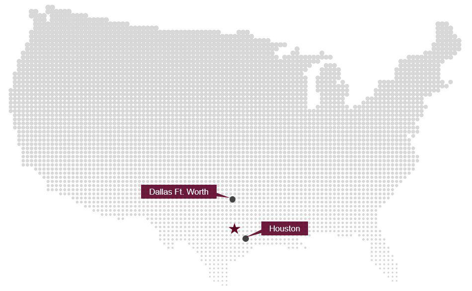 Route map showing Dallas Ft. Worth airport, Houston airport and Easterwood Airport